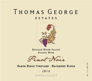 2014 Pinot Noir Baker Ridge Estate Single Vineyard Backbone Block