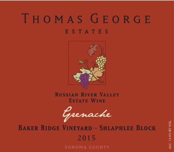 2015 Grenache Baker Ridge Estate Single Vineyard Shlaphlee Block