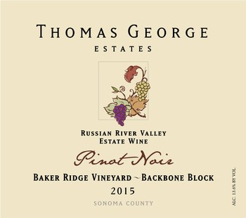 2015 Pinot Noir Baker Ridge Estate Single Vineyard Backbone Block