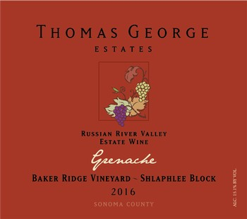 2016 Grenache Baker Ridge Estate Single Vineyard Shlaphlee Block