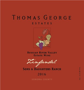 2016 Zinfandel Sons & Daughters Ranch Estate Single Vineyard 1885 Block